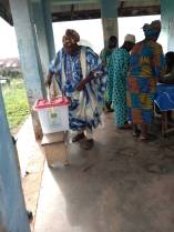 At 8:26, pu 05, ward 04, ifedayo L.G first voter to cast his vote.