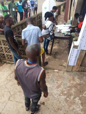 As at 11:04 am, at ELERIN C, ward 9, P Unit 003. Irepodun LG Voting is going on smoothly. There are five security personel. APC party agents gave drinks to the INEC officials. There are five party agents on ground.