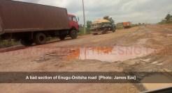 A bad section of Enugu-Onitsha Expressway [Photo: James Eze]