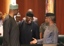 R-L: Vice President Yemi Osinbajo; Ekiti State Governor, Dr Kayode Fayemi; with Secretary to the Government of the Federation, Mr Boss Mustapha, at the National Executive Council (NEC) meeting in Abuja...on Thursday