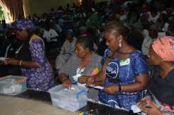 Members of the association casting their votes.