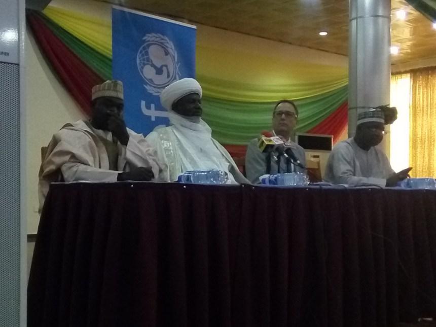 From Left Abubakar Haladu NMEC , Samaria Mera, Emir of Argungun, Kebbi state, Bello Kagara, Director Social Mobilisation