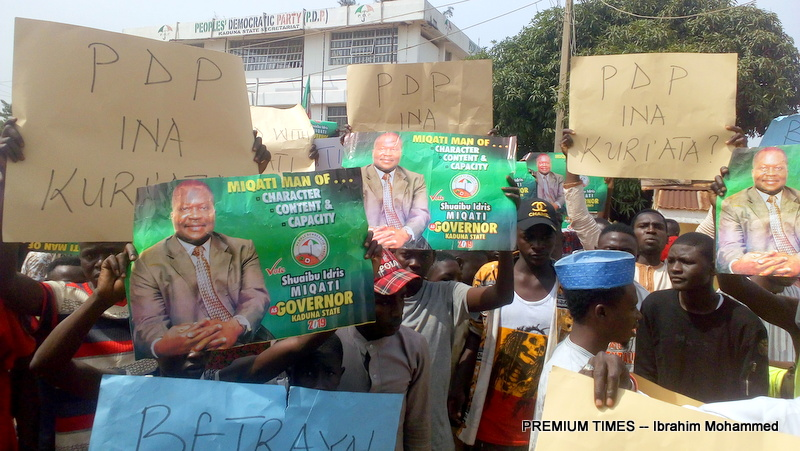 PDP members protest in Kaduna