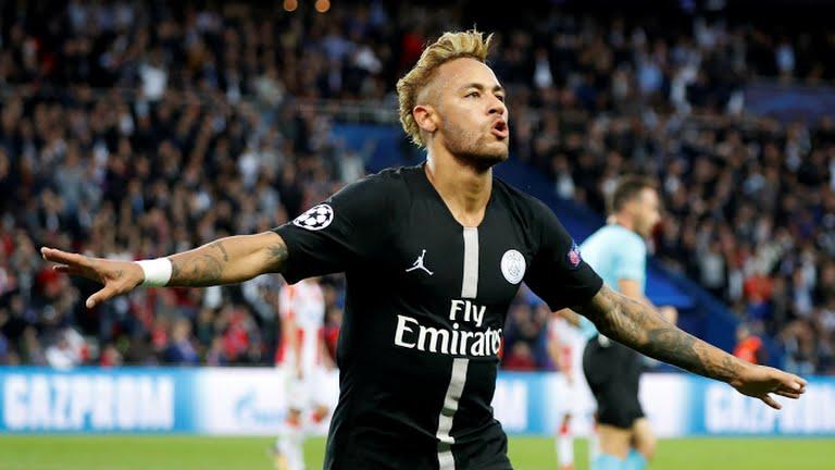 Neymar celebrates after scoring a goal against FK Crvena Zvezda (Photo Credit; Reuters)