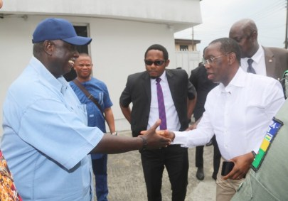 Delta State Governor, Senator Ifeanyi Okowa (right) and South-South PDP National Vice Chairman, Bro. Emmanuel Ogidi, during a Closed door meeting of PDP Convention Planning Committee, in Port Harcourt. PIX ; JIBUNOR SAMUEL.