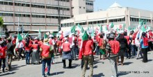 Workers protesting over alleged recalcitrance of government and employers to pay adequate minimum wage, at the Federal Secretariat in Abuja on Tuesday (30/10/18). 05391/30/10/2018/Deborah Bada/BJO/NAN