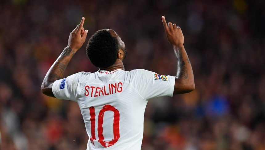 Raheem Sterling celebrates after scoring for England against Spain (Photo Credit: Squawka Football on Twitter)