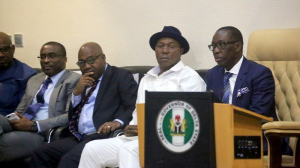 From right; Delta State Governor, Senator Ifeanyi Okowa; Delta State Deputy Governor, Barr. Kingsley Otuaro; Secretary to State Government, Hon. Ovie Agas and Commissioner for Finance, Olorogun David Edevbie, during the Presentation of the 2019 Budget Estimates to the Delta State House of Assembly, in Asaba. (PHOTO CREDIT; JIBUONR SAMUEL)