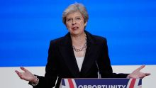 Theresa May during the Tory conference [Photo: The Week UK]