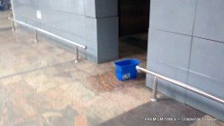 Buckets used to absorb water at International wing