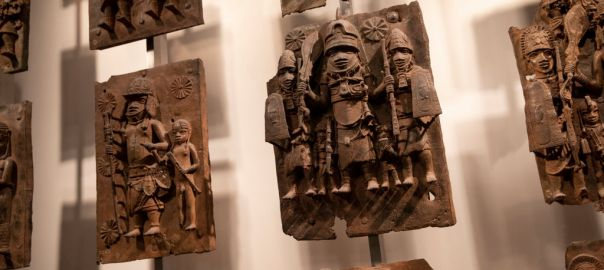 LONDON, ENGLAND - NOVEMBER 22: Plaques that form part of the Benin Bronzes are displayed at The British Museum on November 22, 2018 in London, England. The British Museum has agreed to loan the plaques back to a new museum in Benin City in Nigeria. The Benin Bronzes were taken from Africa by British troops in 1897. The return of a basalt Easter Island Head figure has also been requested this week by The Governor of the Easter Islands, Tarita Alarcón Rapu amid a broader call for artefacts taken during colonial rule to be restituted. (Photo by Dan Kitwood/Getty Images)