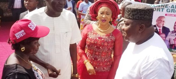 R-L: Governor Ifeanyi Ugwuanyi of Enugu State; Wife of Senator Jim Nwobodo, Mrs. Pat Nwobodo; Chairman of Enugu South Local Government Area, Hon. Sunday Ugwu, and the Deputy Leader of the State Assembly and member representing Enugu South Rural Constituency, Hon. Mrs. Onyinye Ugwu, during her Annual Constituency Outreach and Empowerment programme, yesterday.