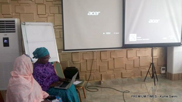 Hajiya Bello takes the stage to project the 24 issues in the health sector that were not captured under the OGP plan.