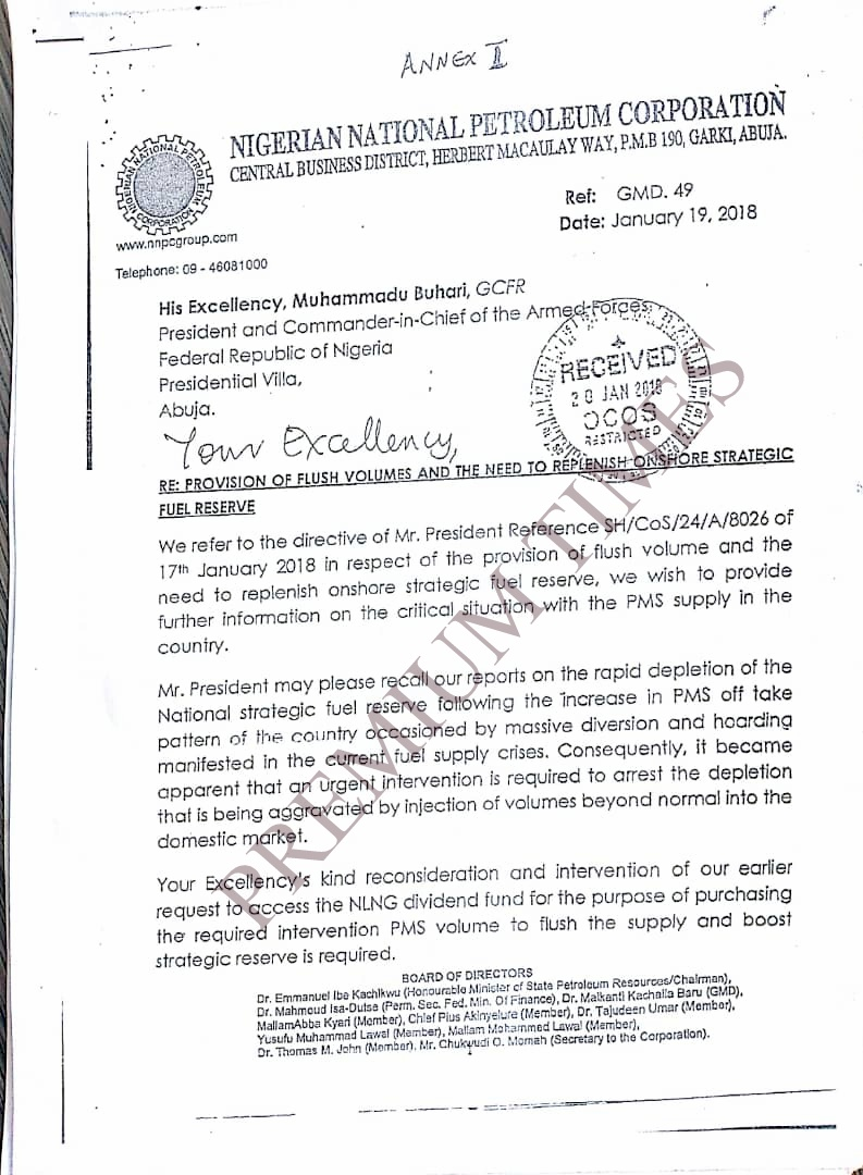 Letter to Buhari on provision of flush volumes and the need to ...