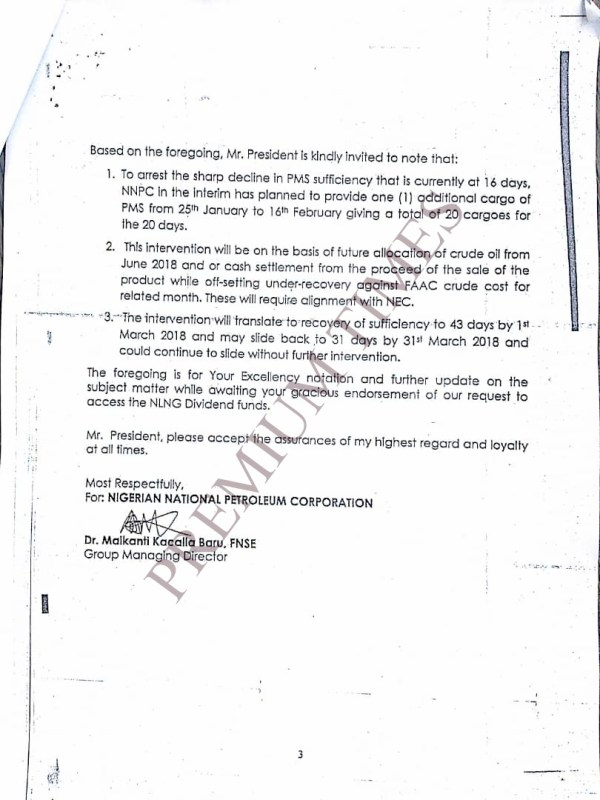 NNPC GMD's letter to Buhari, apprising him on the measures taken to bridge the gap in PMS sufficiency -- NLNG dividends