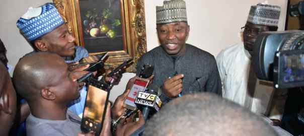 Omoyele Sowore addressing newsmen in Daura