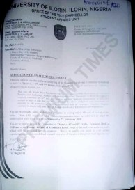 Documents showing the expulsion of a UNILORIN student without due process.