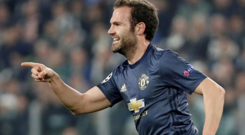 Juan Mata celebrates after scoring against Juventus