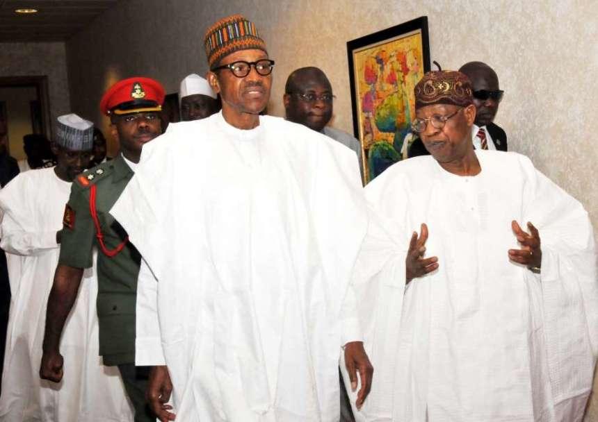 President Mohammadu Buhari and Lai Mohammed [Photo: Pulse.ng]