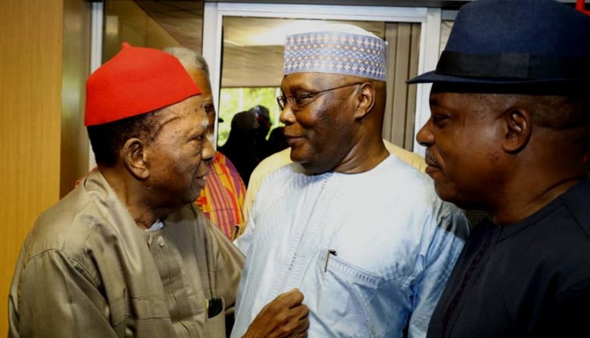 From left: Former National Secretary of Ohanaeze Ndigbo and renowned constitutional lawyer, Prof. Ben Nwabueze; 2019 PDP Presidential candidate, Alhaji Atiku Abubakar; and National Chairman of the party, Prince Uche Secondus, during Atiku's consultative meeting with leaders and stakeholders in the South-East in Enugu on Wednesday (14/11/18). 05744/14/11/2018/APCOAMG/BJO/NAN