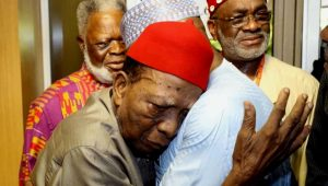 Former National Secretary of Ohanaeze Ndigbo and renowned constitutional lawyer, Prof. Ben Nwabueze (L) embraces 2019 PDP Presidential candidate, Alhaji Atiku Abubakar, during Atiku's consultative meeting with leaders and stakeholders in the South-East in Enugu on Wednesday (14/11/18). 05745/14/11/2018/APCO/BJO/NAN