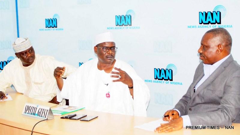 From left: Deputy Editor-in-Chief, News Agency of Nigeria (NAN), Mr Abdullahi Yusuf; Senator representing Borno South Senatorial District, Sen. Ali Ndume; and Deputy Editor-In-Chief of NAN, Mr Olisa Ifeajika, during Sen. Ndume's visit to NAN headquarters in Abuja on Tuesday (20/11/18). 05903/20/11/2018/Jimah Sulema/NAN
