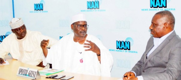 From left: Deputy Editor-in-Chief, News Agency of Nigeria (NAN), Mr Abdullahi Yusuf; Senator representing Borno South Senatorial District, Sen. Ali Ndume; and Deputy Editor-In-Chief of NAN, Mr Olisa Ifeajika, during Sen. Ndume's visit to NAN headquarters in Abuja on Tuesday (20/11/18). 05903/20/11/2018/Jimah Sulema/NAN