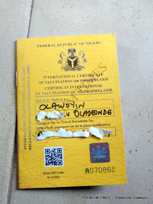 Original yellow card issued at port centre
