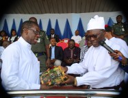 Delta State Governor, Senator Ifeanyi Okowa (left) and State CAN Chairman, Apostle Dr. Silvanus Okorote, during the CAN Day Celebration, at Oleh Township Stadium, Delta State. PIX; JIBUNOR SAMUEL.