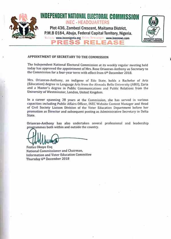 INEC LETTER OF APPOINTMENT