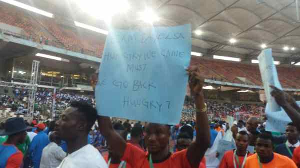 The athletes from Bayelsa protesting at the National Sports Festival