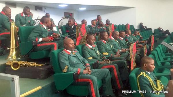 Guards brigade band seated at the gallery.