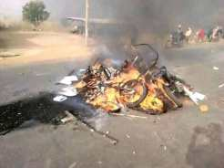 The protesters burnt rubbish in the middle of the road