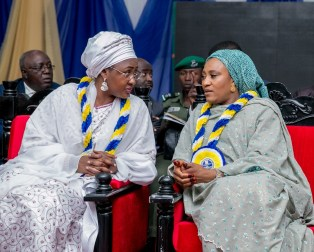 Mrs. Buhari having a tete-a tete with wife of the Governor of BornoState, Mrs. Nana Shettima during award of excellence to Mrs. Buhari by Governor Shettima.