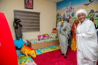 Mrs. Buhari inspecting a room at the orphanage room at the orphanage