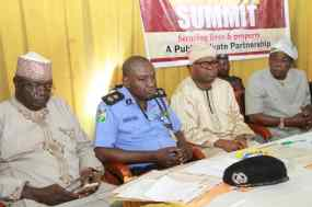 L-R: Director, Department of State Services, Oyo State Command, Mr. Abdullahi Kure; Commissioner of Police at the state command, Mr. Abiodun Odude; Secretary to the State Government, Mr Olalekan Alli; and Deputy Governor, Chief Moses Adeyemo, at a security stakeholders' summit.
