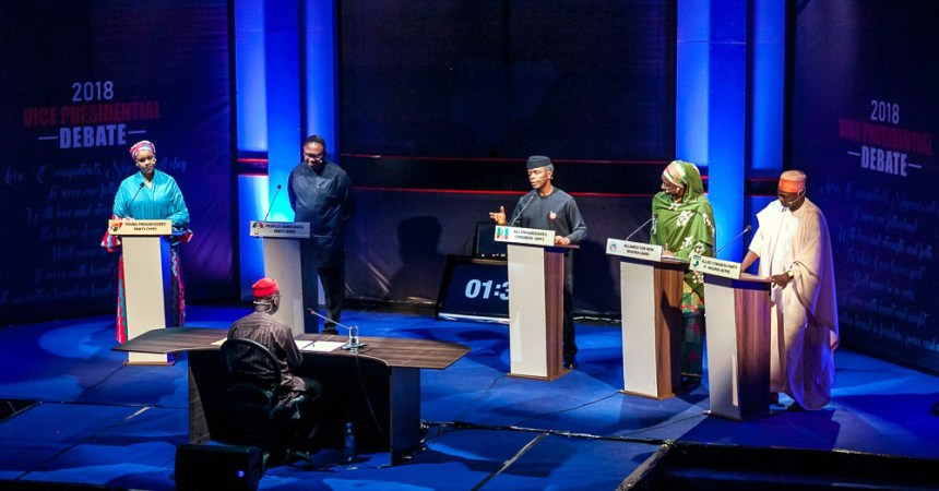 From left: Umar Gesto of Young Progressives Party (YPP); Peter Obi of Peoples Democratic Party (PDP); Yemi Osinbajo of All Progressives Congress (APC); Khadija Abdullahi of Alliance for New Nigeria (ANN); and Ganiyu Galadima of Allied Congress Party of Nigeria (ACPN), during the 2018 Vice Presidential Debate organise by Nigeria Election Debates Group in Abuja on Friday (14/12/18) 06664/14/12/2018/Hogan Bassey/BJO/NAN