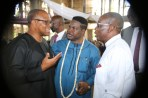 From Right: Delta State Governor, Senator Ifeanyi Okowa, Chief Mike Ozekhome (SAN), and Vice Presidential Candidate, Peoples Democratic Party (PDP), Mr Peter Obi, during the funreral Mass in honour of Late Chief Anthony Anenih at Uromi, Edo State. PIX: BRIPIN ENARUSAI