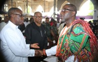 From Left: Delta State Governor, Senator Ifeanyi Okowa, Vice Presidential Candidate, Peoples Democratic Party (PDP), Mr Peter Obi, and the first son of Late Anthony Anenih, Tony Jr Anenih, during funeral mass, at Uromi, Edo State. PIX: BRIPIN ENARUSAI