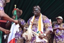 Chris Ekpenyong, PDP candidate for Senate, Akwa Ibom North-West, receiving his party flag on Saturday