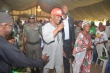 Jimi Agbaje and Haleemat Yemisi Busari, gubernatorial candidate and deputy gubernatorial candidate of the People's Democratic Party (PDP) in Lagos, at Kosofe LG townhall meeting.