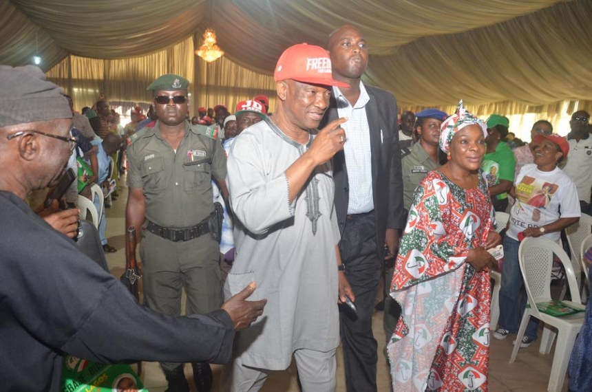 Jimi Agbaje and Haleemat Yemisi Busari, gubernatorial candidate and deputy gubernatorial candidate of the People's Democratic Party (PDP) in Lagos, at Kosofe LG townhall meeting.