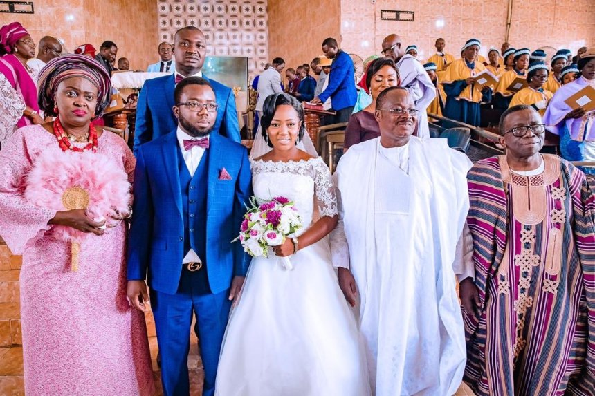 From right Mr. Adewole, Governor Ajimobi and the newly wedded couple