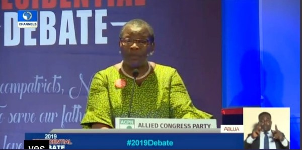 Oby Ezekwesili at the presidential debate. [PHOTO CREDIT: Official Twitter handle of Channels TV]