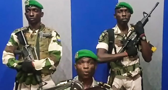 Gabon Soldiers announcing the take over of power. [PHOTO CREDIT: Channels TV]
