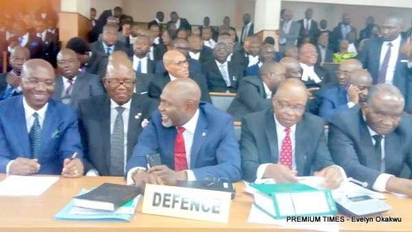 Lawyers from the defence and prosecution already present at the tribunal. Members of the defence team include, Kanu Agabi, Adegboga Awomolo, Wale Olanikpekun, CHris Uche among other senior lawyers.