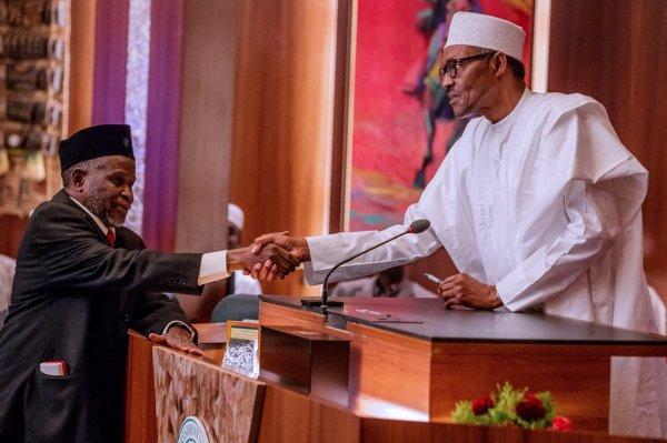 President Muhammadu Buhari swearing-in New Acting CJN, Justice Ibrahim Tanko Muhammad