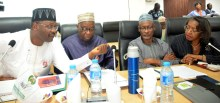 From left: Chairman of INEC, Prof. Mahmood Yakubu; INEC National Commissioners, Mr Mustapha Leki; Mr Abubakar Nahuche; and Mrs May Agbamuche-Mbu, during the INEC's Consultative Meeting with Security Agencies, at the INEC headquarters in Abuja on Wednesday (9/1/19). 00233/9/1/2019/Hogan Bassey/NAN