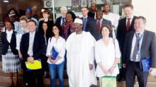 INEC Chairman, Prof. Mahmood Yakubu (3rd, R); Chief Observer, EU Election Observation Mission Nigeria 2019, Maria Arena (3rd, L); INEC Commissioners and other members of the Mission, during their visit to INEC headquarters in Abuja on Monday (21/1/19). 00706/21/1/2019/Hogan Bassey/BJO/NAN