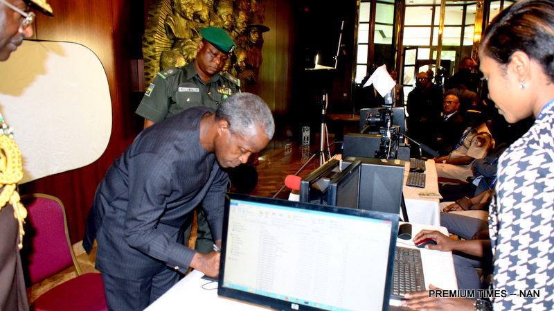 Vice President Yemi Osinbajo, being captured during the launch of the New Enhanced Security e-Passport at the Presidential Villa in Abuja on Tuesday (15/01/2019) 00435/15/01/2019/Callistus Ewelike/JAU/NAN